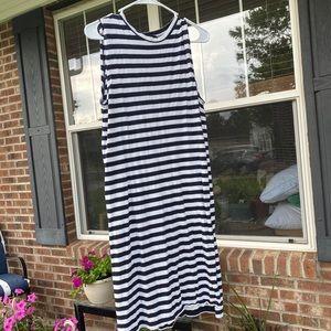 White and navy striped slit midi dress